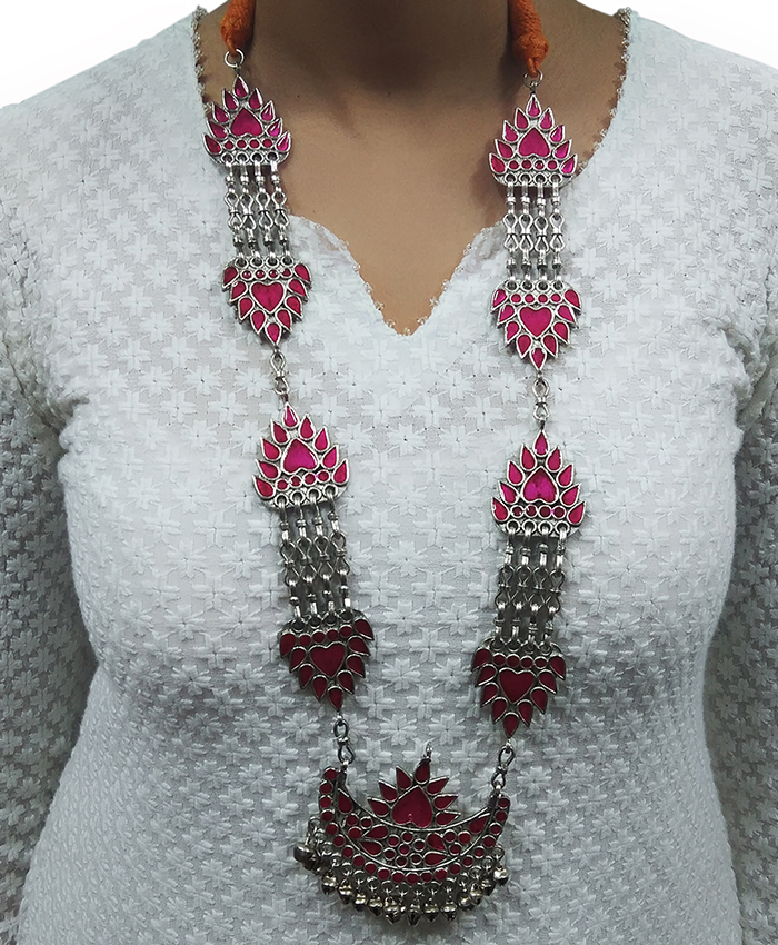 Oxidised Pink Meenakari Necklace