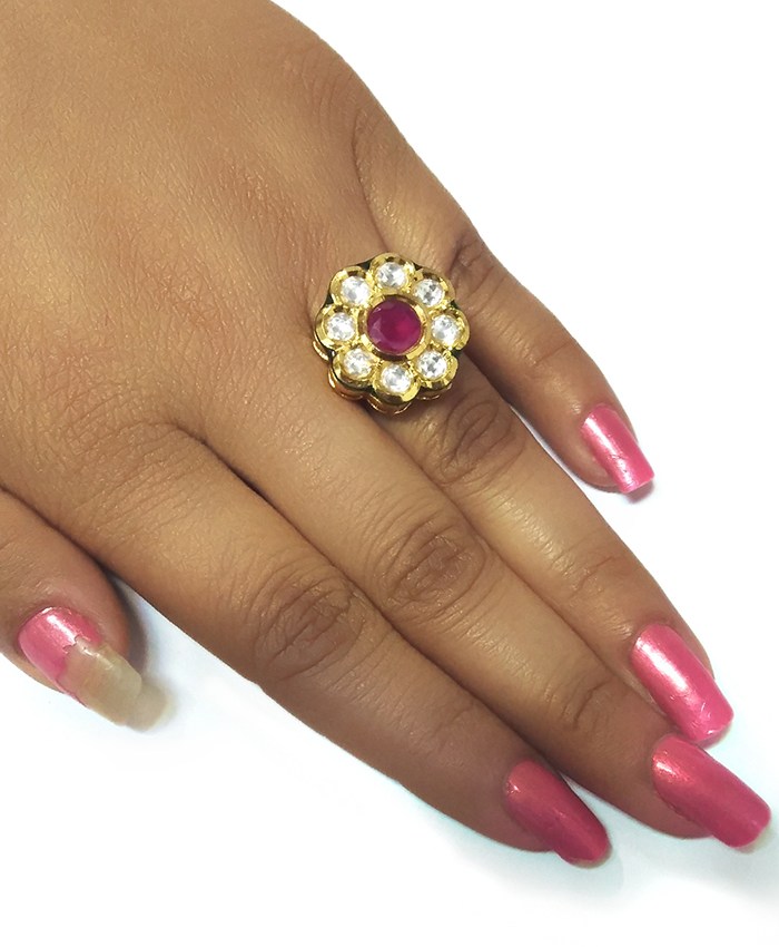 Avanshika Gold Plated Kundan Ring