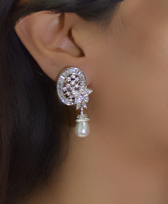 Elegant Floral Studs With Pearl Drop