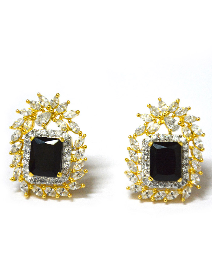 Adhira Black Stone and American Diamonds Earrings