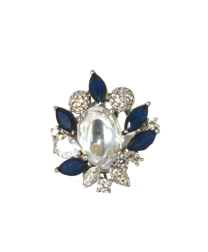Blue Stone Kundan and American Diamond Cocktail Ring