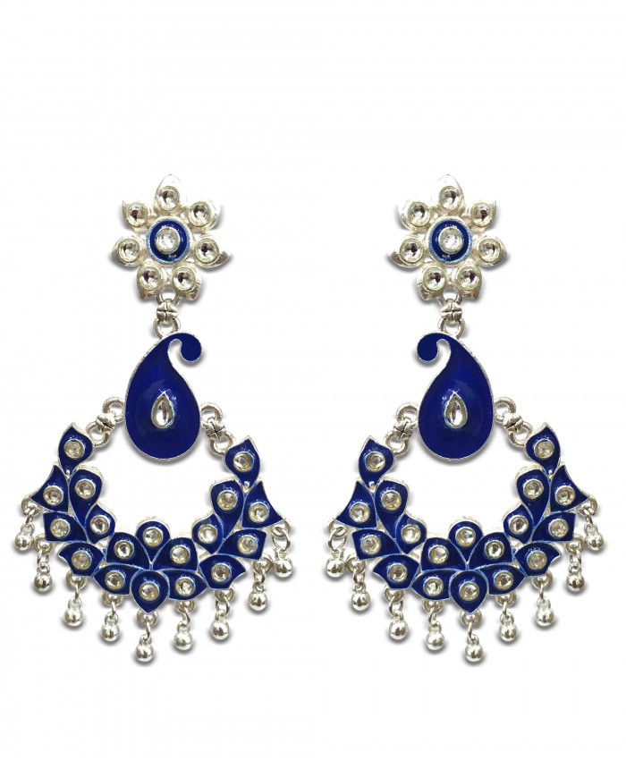 Aarna Blue Kundan Meena Oxidised Earrings
