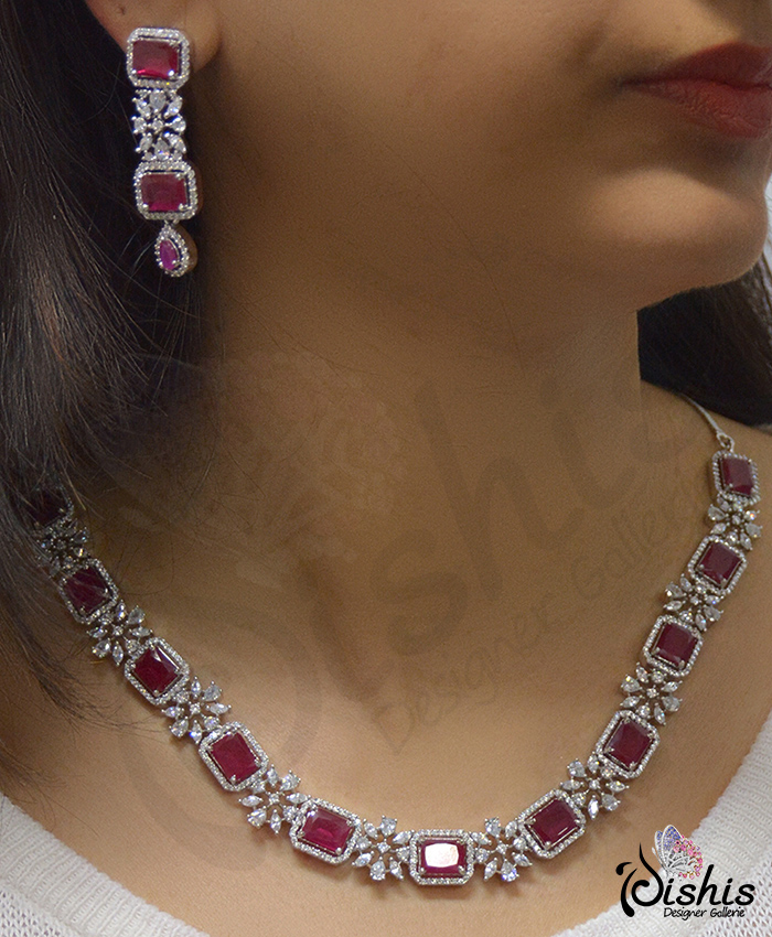 Nishka American Diamond and Red Stone Necklace Set