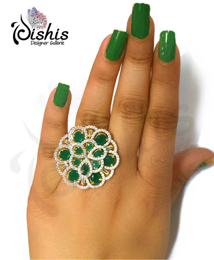 Beautiful Takshvi Gold Plated Cocktail Ring