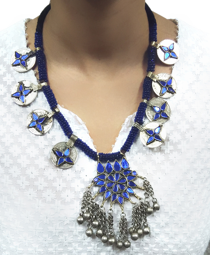 Blue Coin Afgani Necklace