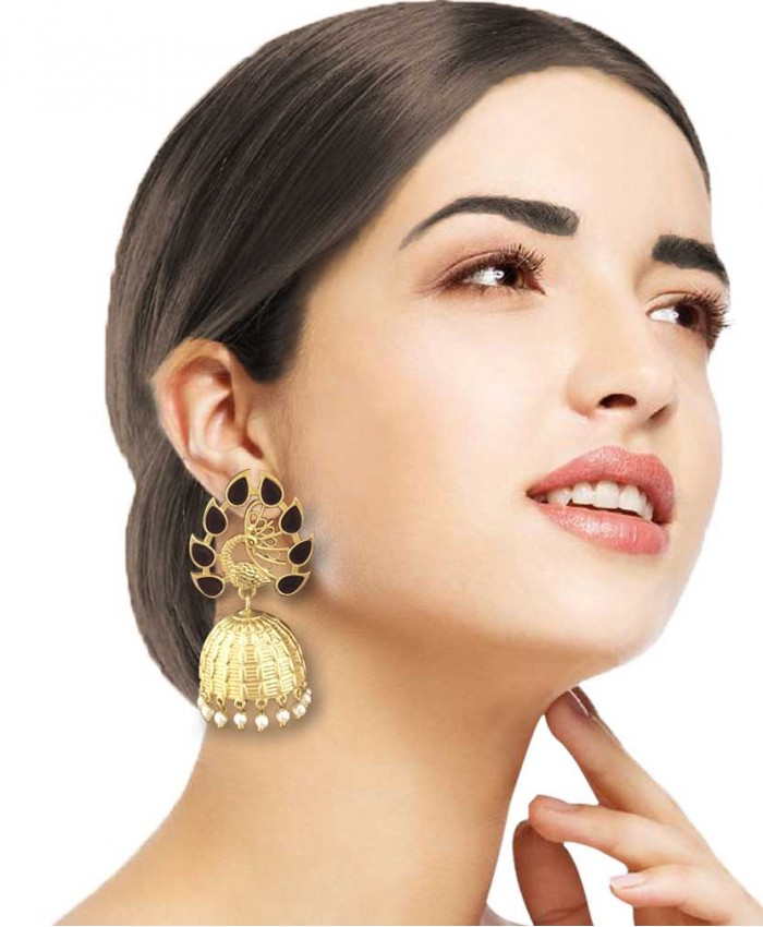Chic Gold Plated Black Stones Jhumkis
