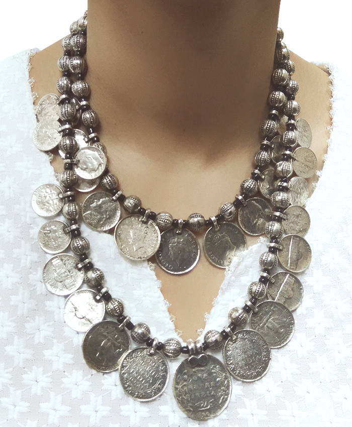 Coin and Black Thread Afghani Necklace