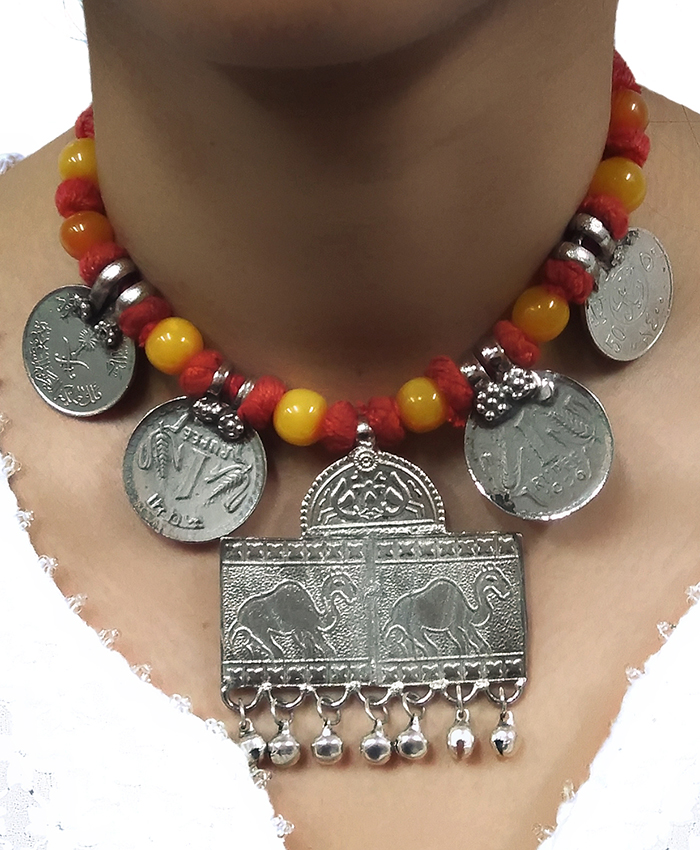 Gypsy Yellow Thread With Coin Necklace
