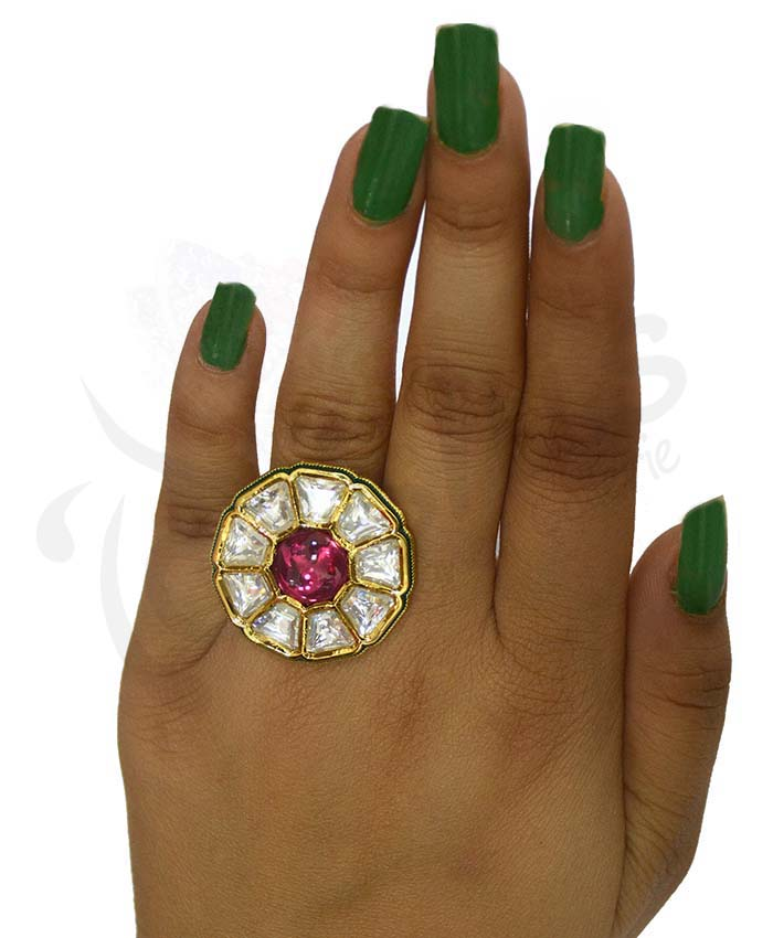 Gold Plated Delightful Anika Kundan Ring