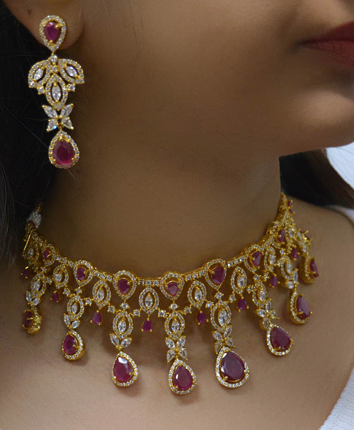 Gold Plated Dhrisha AD Necklace Set