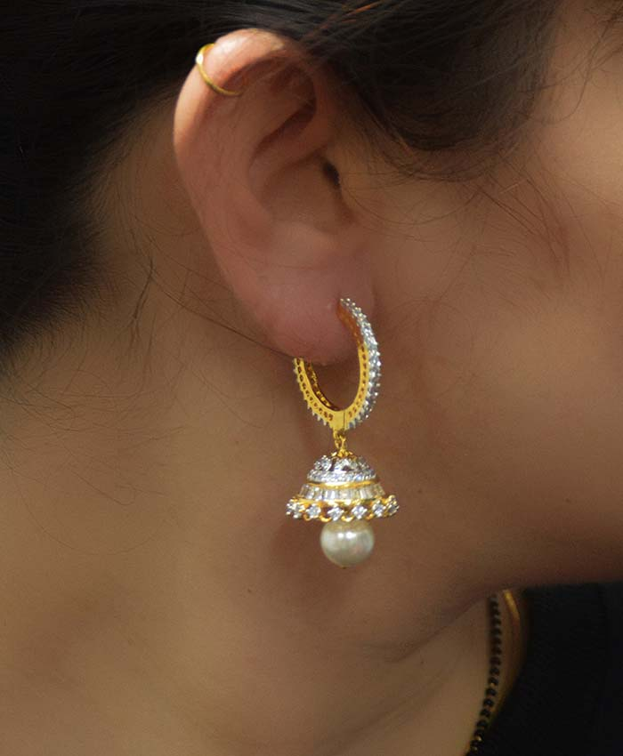 Gold Plated and American Diamond Jhumki