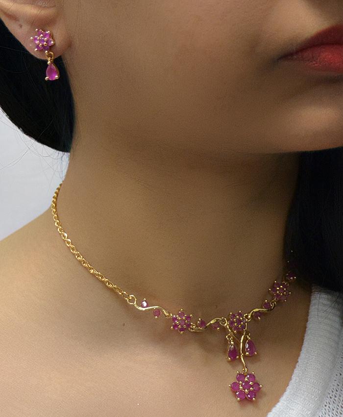 Fabulous Drishti Ruby Necklace Set