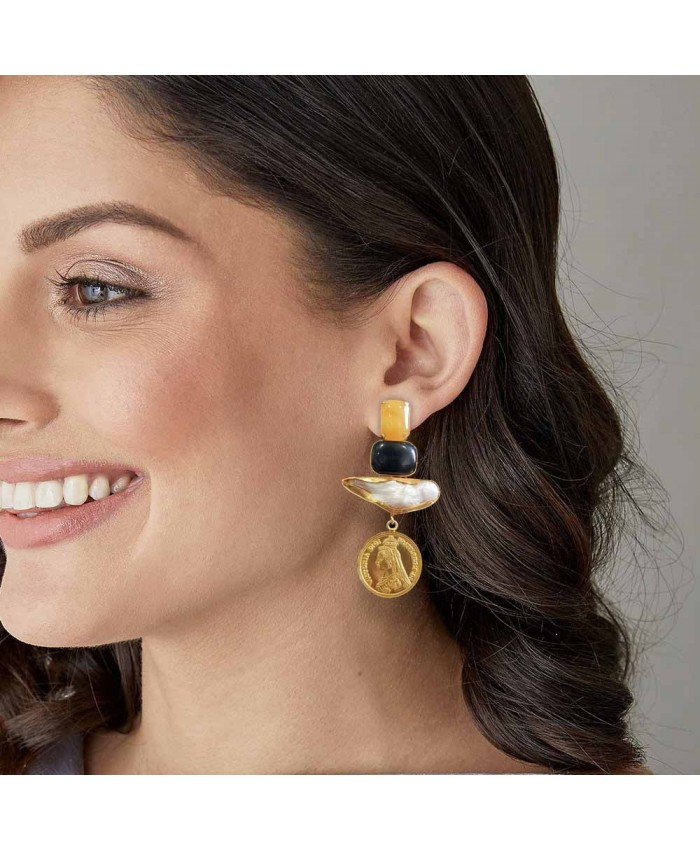 Fashinable Stones and Coin Earrings