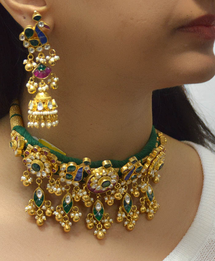 Silver Base and Pachi Kundan Gold Plated Choker Set