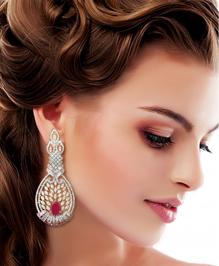 Gold Plated American Diamond and Ruby Vritee Earrings