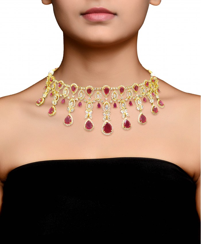 Gold Plated Dhrisha AD Necklace Set