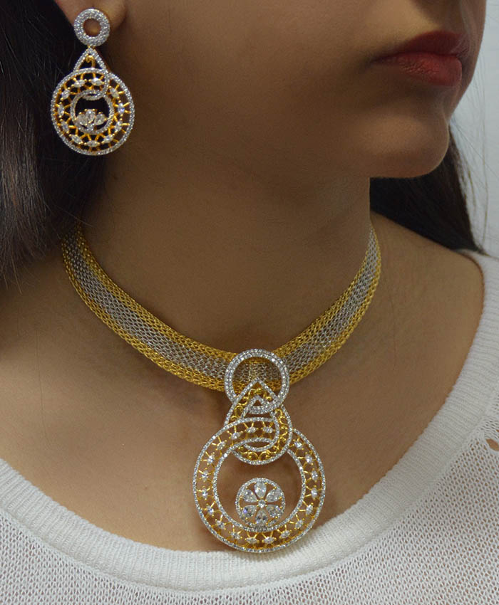 Graceful Gold Plated Radhya Necklace Set