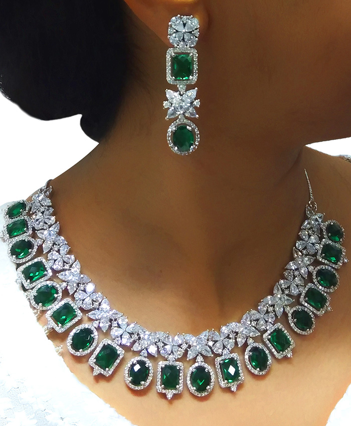 Gold Plated American Diamond and Emerald Necklace Set