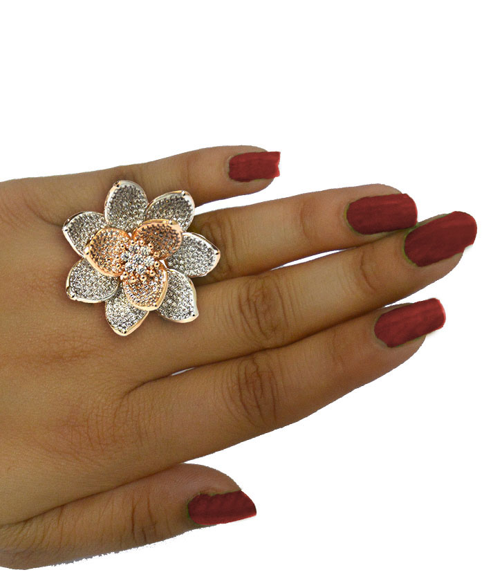 Lotus Flower Shape Ring In Rose Color