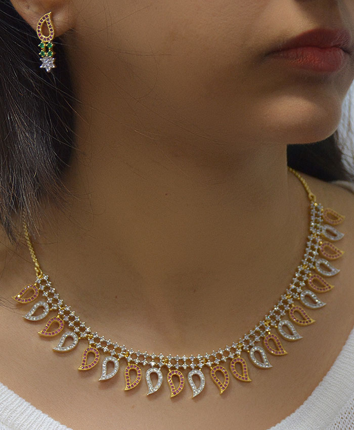 Anvi Gold Plated American Diamond Necklace Set