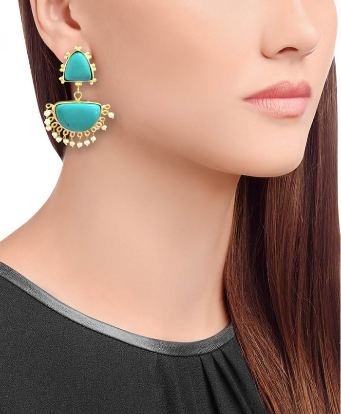 Sophia Gold Turquoise Danglers